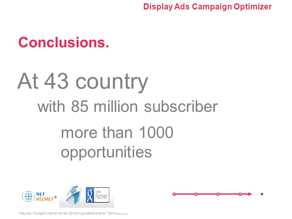 Kampanyanızı optimize edin. Görüntülü Reklam Kampanyası Optimize Edici'yi Kullanma Conclusions. *Kaynak: Google'ın Kendi Verileri. En son güncelleme t