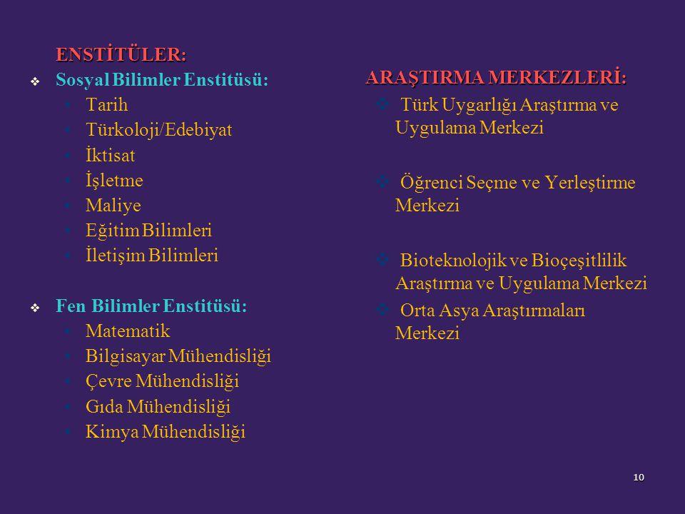 ENSTİTÜLER:   Sosyal Bilimler Enstitüsü: Tarih Türkoloji/Edebiyat İktisat İşletme Maliye Eğitim Bilimleri İletişim Bilimleri   Fen Bilimler Enstitüsü: Matematik Bilgisayar Mühendisliği Çevre Mühendisliği Gıda Mühendisliği Kimya Mühendisliği ARAŞTIRMA MERKEZLERİ:   Türk Uygarlığı Araştırma ve Uygulama Merkezi   Öğrenci Seçme ve Yerleştirme Merkezi   Bioteknolojik ve Bioçeşitlilik Araştırma ve Uygulama Merkezi   Orta Asya Araştırmaları Merkezi 10