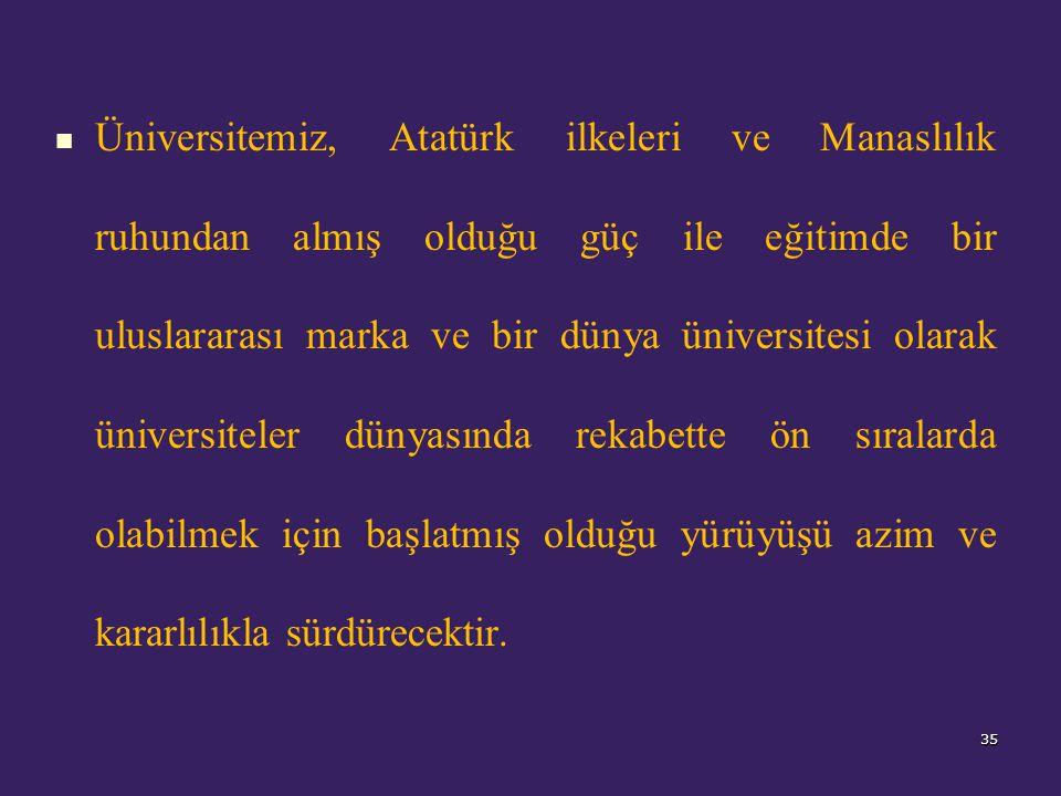 Üniversitemiz, Atatürk ilkeleri ve Manaslılık ruhundan almış olduğu güç ile eğitimde bir uluslararası marka ve bir dünya üniversitesi olarak üniversiteler dünyasında rekabette ön sıralarda olabilmek için başlatmış olduğu yürüyüşü azim ve kararlılıkla sürdürecektir.