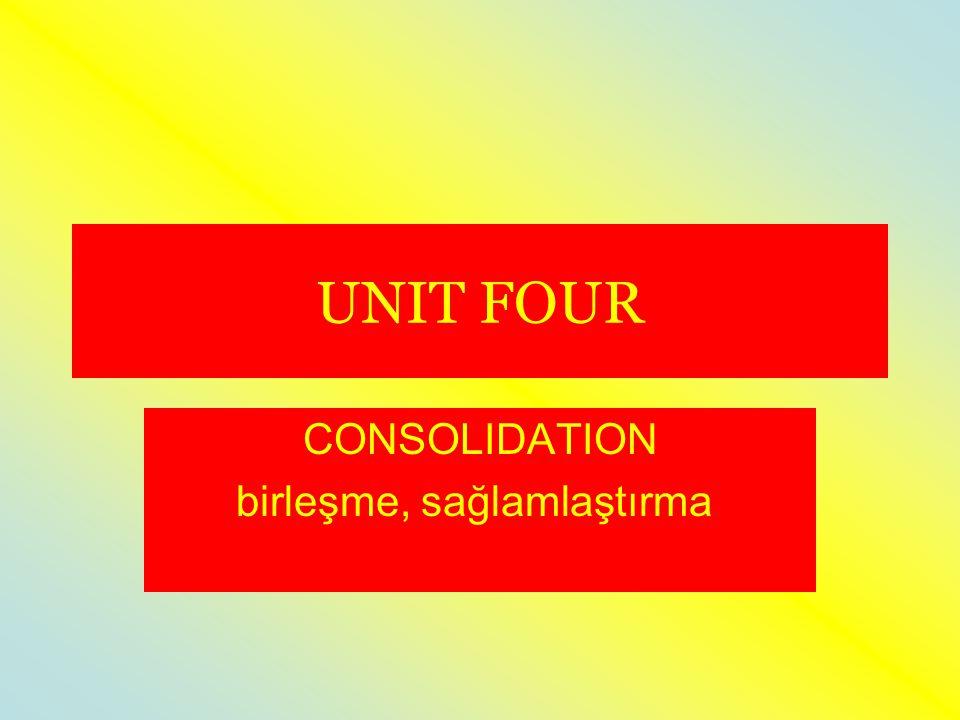 UNIT FOUR CONSOLIDATION birleşme, sağlamlaştırma, pekiştirme