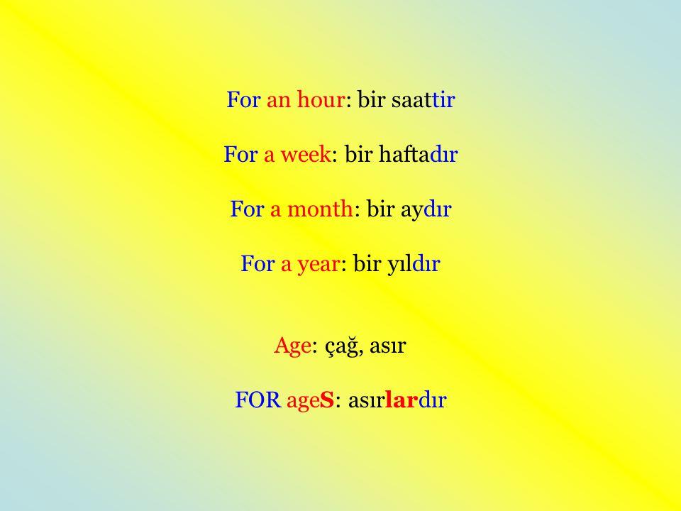 For an hour: bir saattir For a week: bir haftadır For a month: bir aydır For a year: bir yıldır Age: çağ, asır FOR ageS: asırlardır