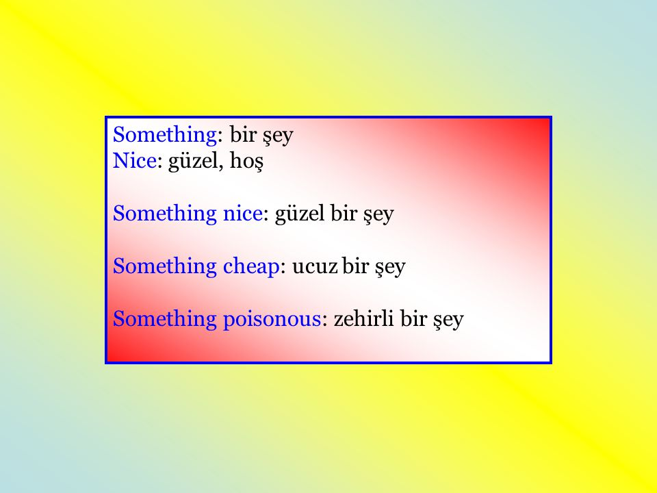 Something: bir şey Nice: güzel, hoş Something nice: güzel bir şey Something cheap: ucuz bir şey Something poisonous: zehirli bir şey