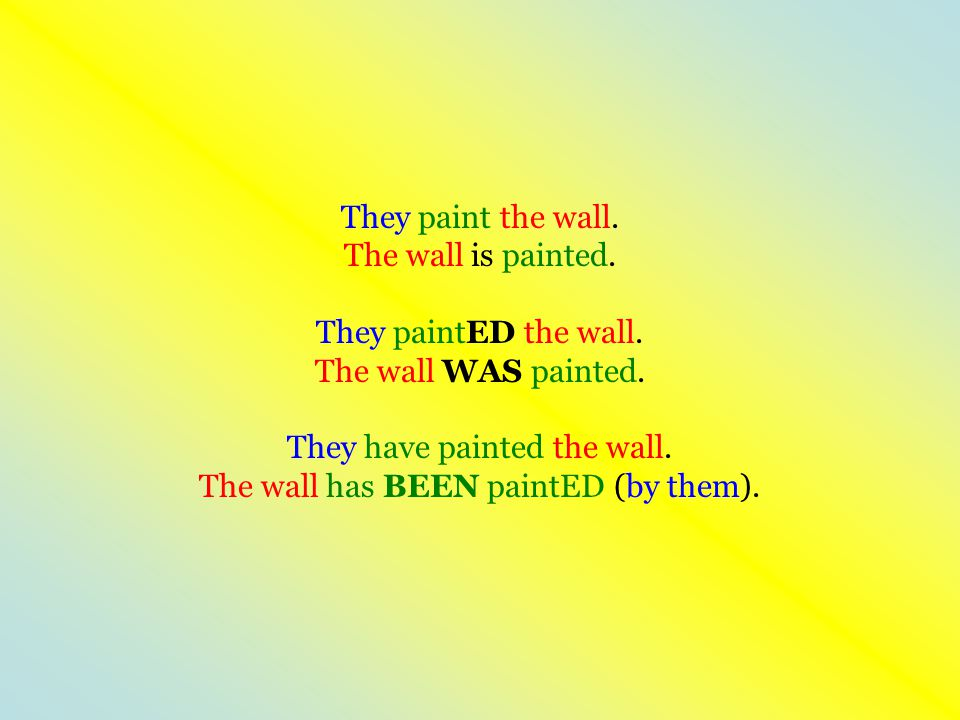 They paint the wall. The wall is painted. They paintED the wall. The wall WAS painted. They have painted the wall. The wall has BEEN paintED (by them)