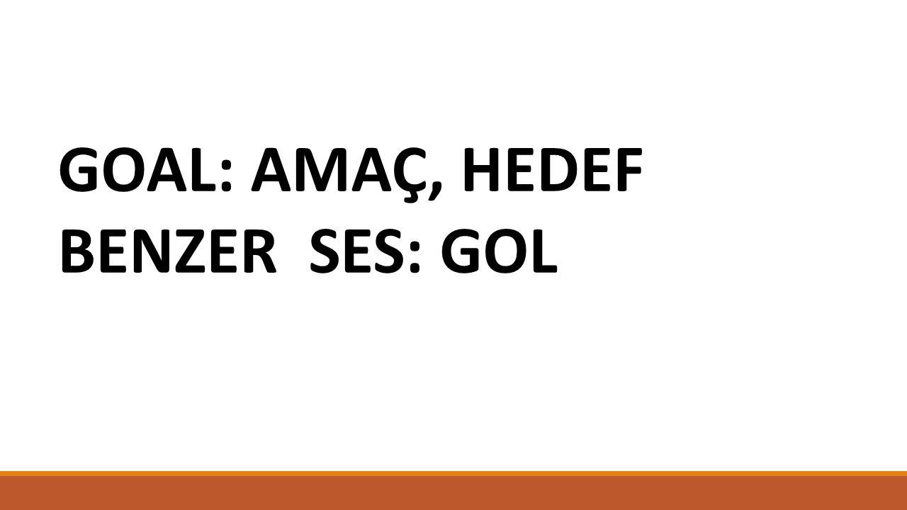 GOAL: AMAÇ, HEDEF BENZER SES: GOL