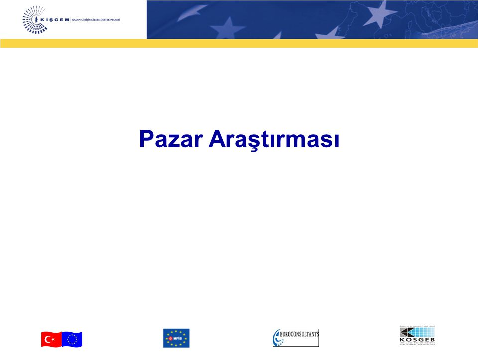 2 3-4 Pazar Araştırması Yapı, İçerik ve Araçlar Potansiyel müşteri ve pazardaki akımlar konusunda bilgi analizi Bilgi edinme ve bilgi kaynakları tespit etme