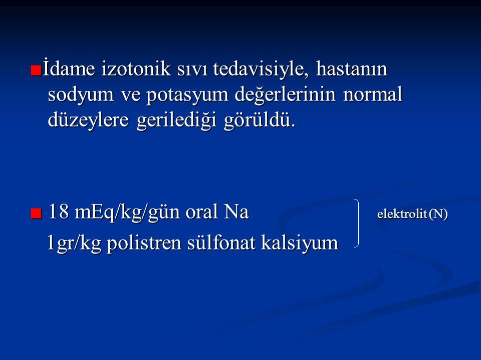 ■İdame izotonik sıvı tedavisiyle, hastanın sodyum ve potasyum değerlerinin normal düzeylere gerilediği görüldü.
