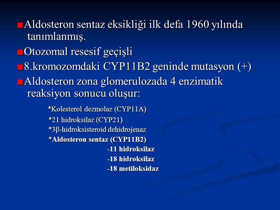 ■ Aldosteron sentaz eksikliği ilk defa 1960 yılında tanımlanmış.