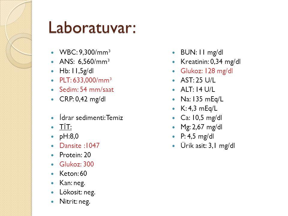 Laboratuvar: WBC: 9,300/mm³ ANS: 6,560/mm³ Hb: 11,5g/dl PLT: 633,000/mm³ Sedim: 54 mm/saat CRP: 0,42 mg/dl İ drar sedimenti: Temiz T İ T: pH:8,0 Dansite :1047 Protein: 20 Glukoz: 300 Keton: 60 Kan: neg.