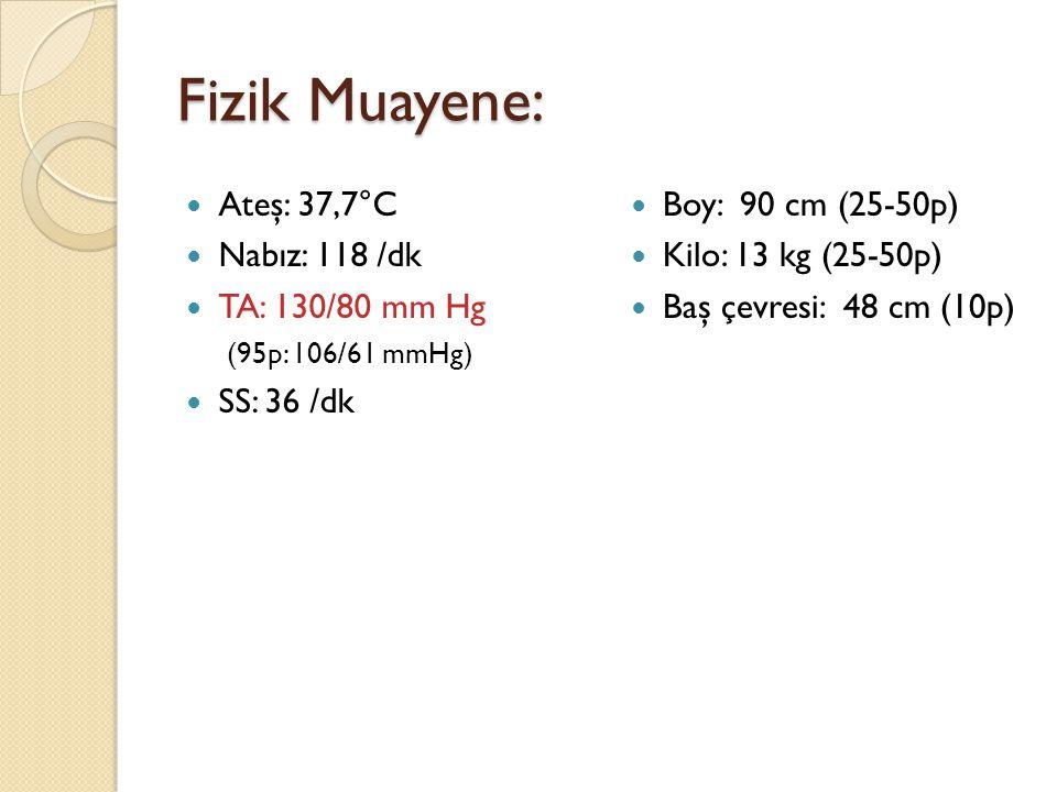 Fizik Muayene: Ateş: 37,7°C Nabız: 118 /dk TA: 130/80 mm Hg (95p: 106/61 mmHg) SS: 36 /dk Boy: 90 cm (25-50p) Kilo: 13 kg (25-50p) Baş çevresi: 48 cm