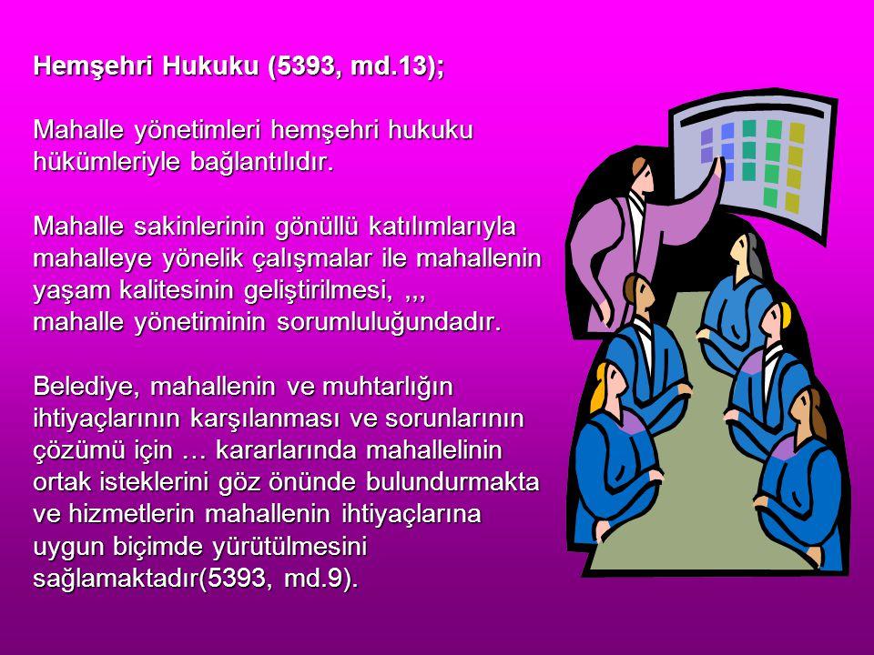 Hemşehri Hukuku (5393, md.13); Mahalle yönetimleri hemşehri hukuku hükümleriyle bağlantılıdır. Mahalle sakinlerinin gönüllü katılımlarıyla mahalleye y