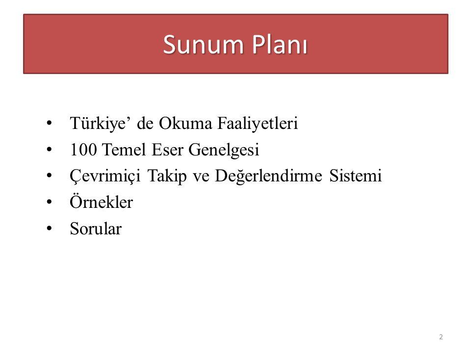 Sunum Planı Türkiye' de Okuma Faaliyetleri 100 Temel Eser Genelgesi Çevrimiçi Takip ve Değerlendirme Sistemi Örnekler Sorular 2