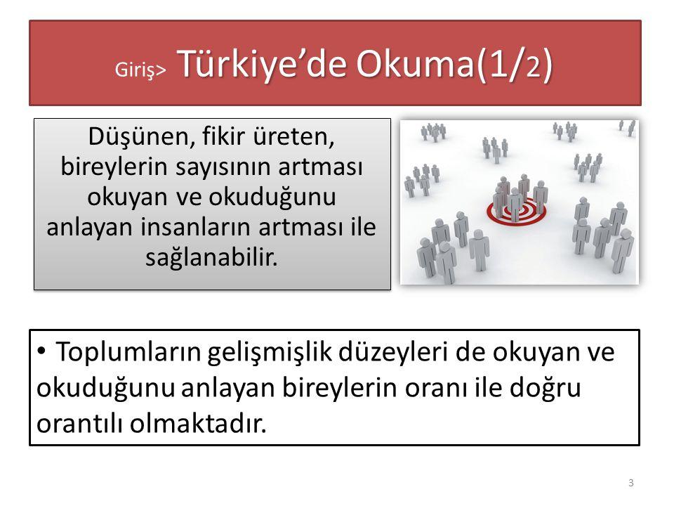 Türkiye'de Okuma(1/ 2 ) Giriş> Türkiye'de Okuma(1/ 2 ) Düşünen, fikir üreten, bireylerin sayısının artması okuyan ve okuduğunu anlayan insanların artm