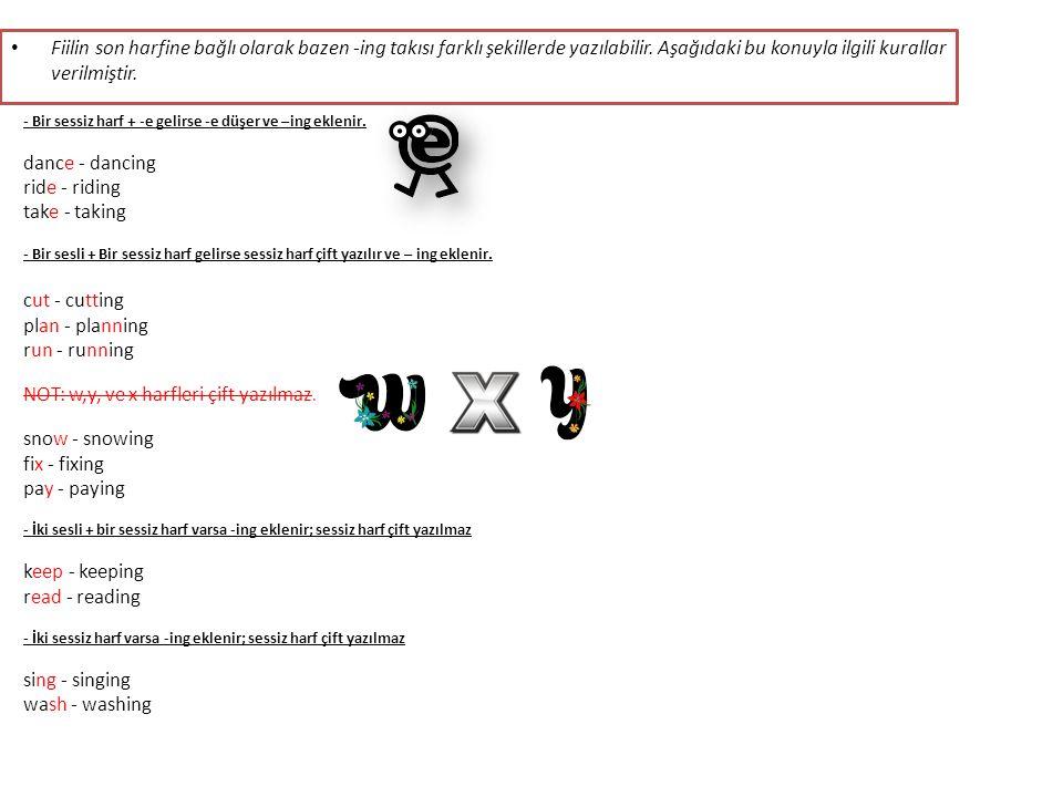 Fiilin son harfine bağlı olarak bazen -ing takısı farklı şekillerde yazılabilir.