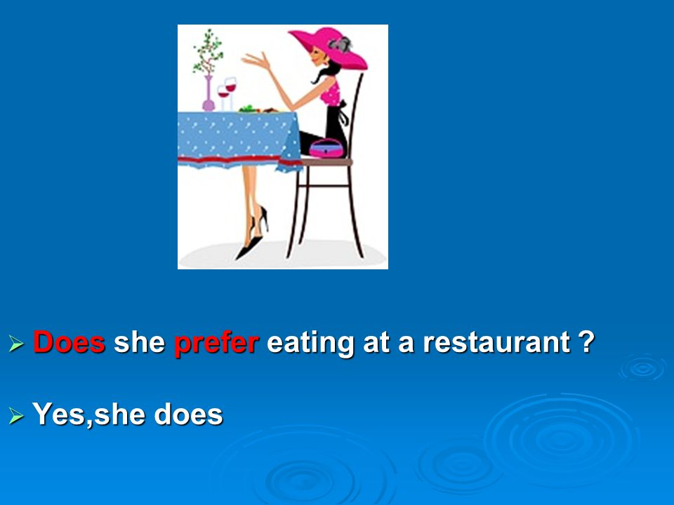  Does she prefer eating at a restaurant ?  Yes,she does
