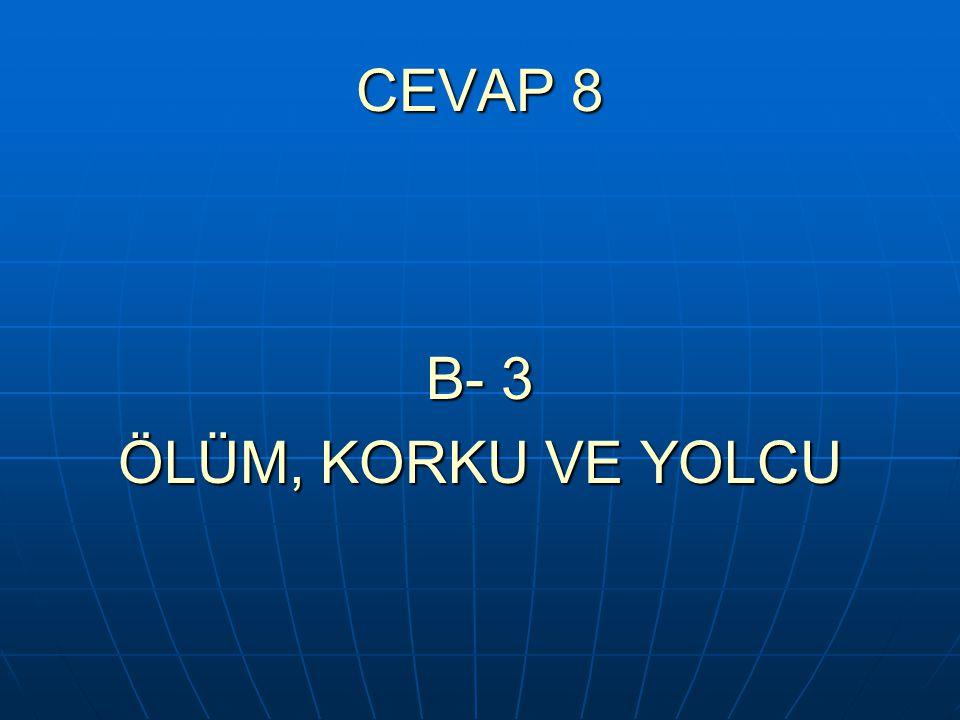 CEVAP 8 B- 3 ÖLÜM, KORKU VE YOLCU