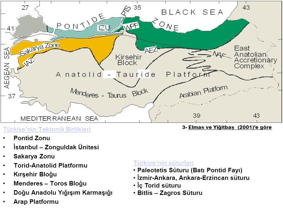 Türkiye'nin süturları Paleotetis Süturu (Batı Pontid Fayı) İzmir-Ankara, Ankara-Erzincan süturu İç Torid süturu Bitlis – Zagros Süturu 3- Elmas ve Yiğ