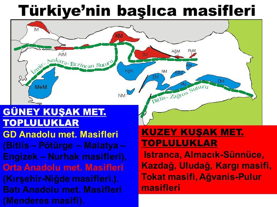 Türkiye'nin başlıca masifleri GÜNEY KUŞAK MET. TOPLULUKLAR GD Anadolu met. Masifleri (Bitlis – Pötürge – Malatya – Engizek – Nurhak masifleri), Orta A