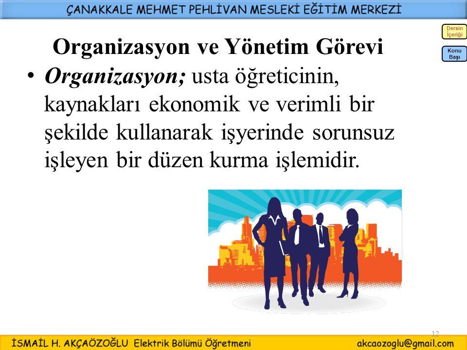 12 Organizasyon ve Yönetim Görevi Organizasyon; usta öğreticinin, kaynakları ekonomik ve verimli bir şekilde kullanarak işyerinde sorunsuz işleyen bir