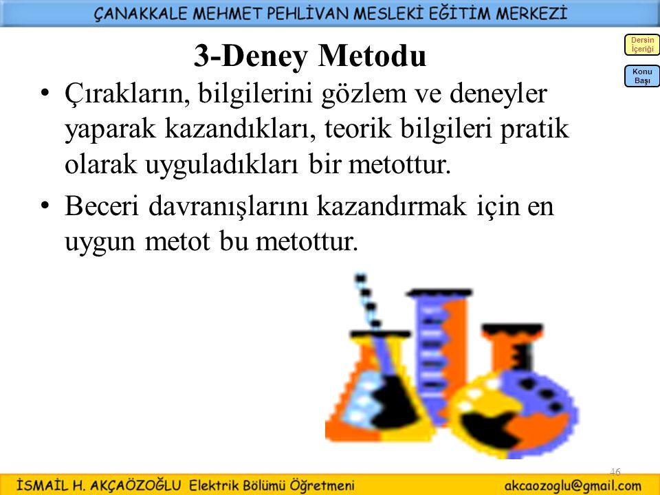 46 3-Deney Metodu Çırakların, bilgilerini gözlem ve deneyler yaparak kazandıkları, teorik bilgileri pratik olarak uyguladıkları bir metottur. Beceri d