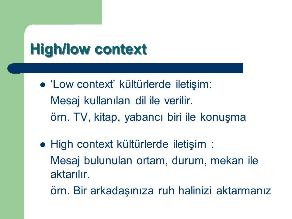 High/low context 'Low context' kültürlerde iletişim: Mesaj kullanılan dil ile verilir. örn. TV, kitap, yabancı biri ile konuşma High context kültürler