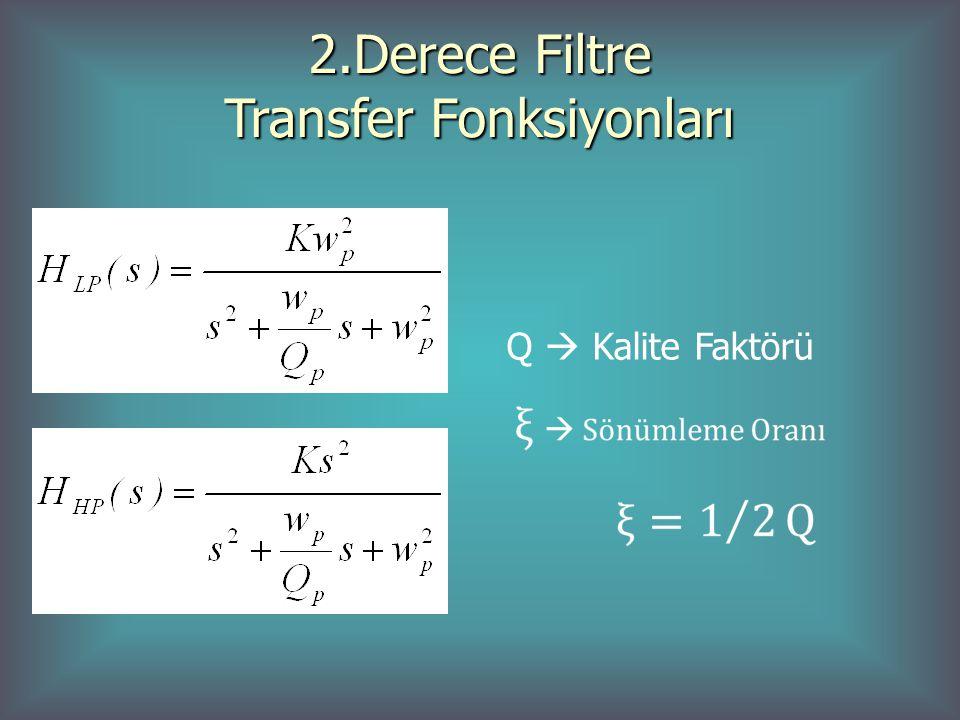 2.Derece Filtre Transfer Fonksiyonları Q  Kalite Faktörü