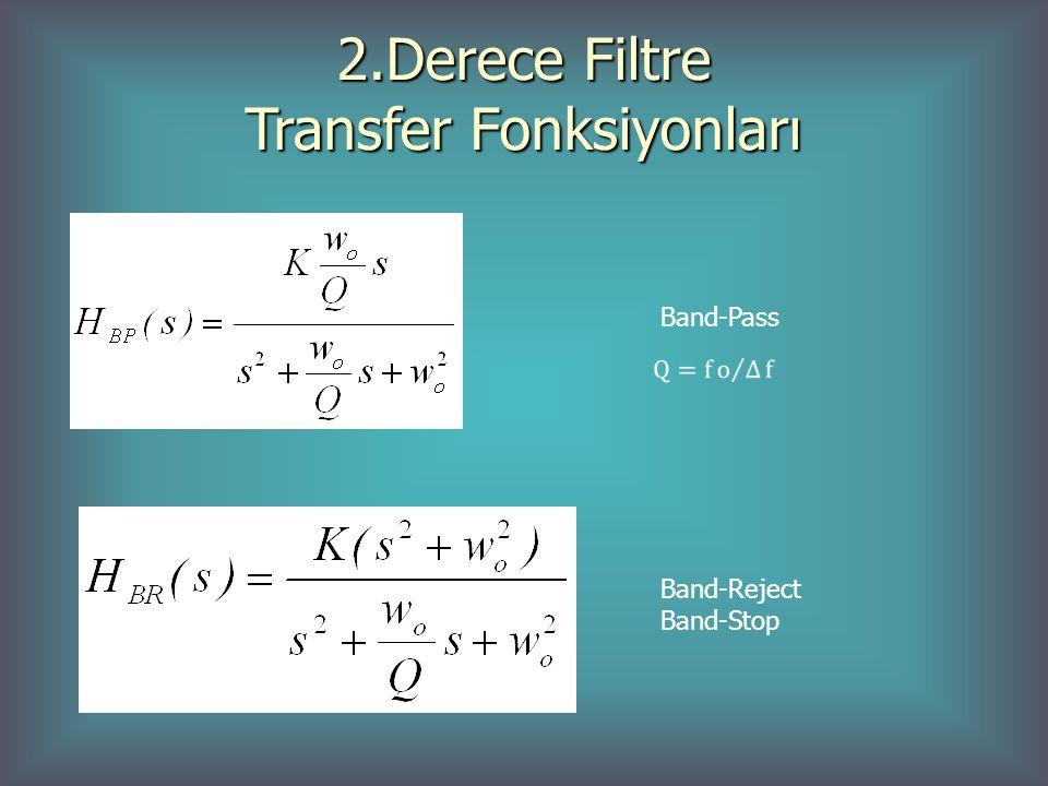 2.Derece Filtre Transfer Fonksiyonları Band-Pass Band-Reject Band-Stop