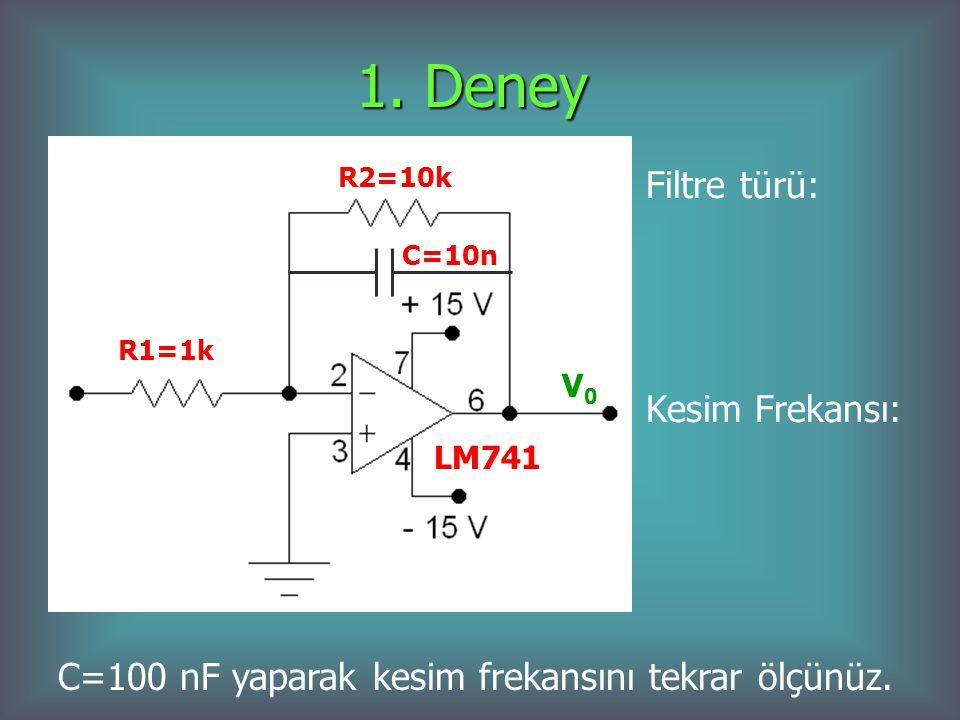 1. Deney V0V0 LM741 R2=10k R1=1k C=10n Filtre türü: Kesim Frekansı: C=100 nF yaparak kesim frekansını tekrar ölçünüz.