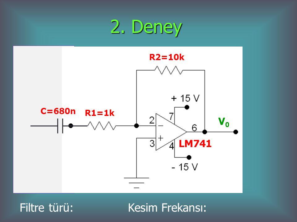 2. Deney V0V0 LM741 R2=10k R1=1k C=680n Filtre türü: Kesim Frekansı: