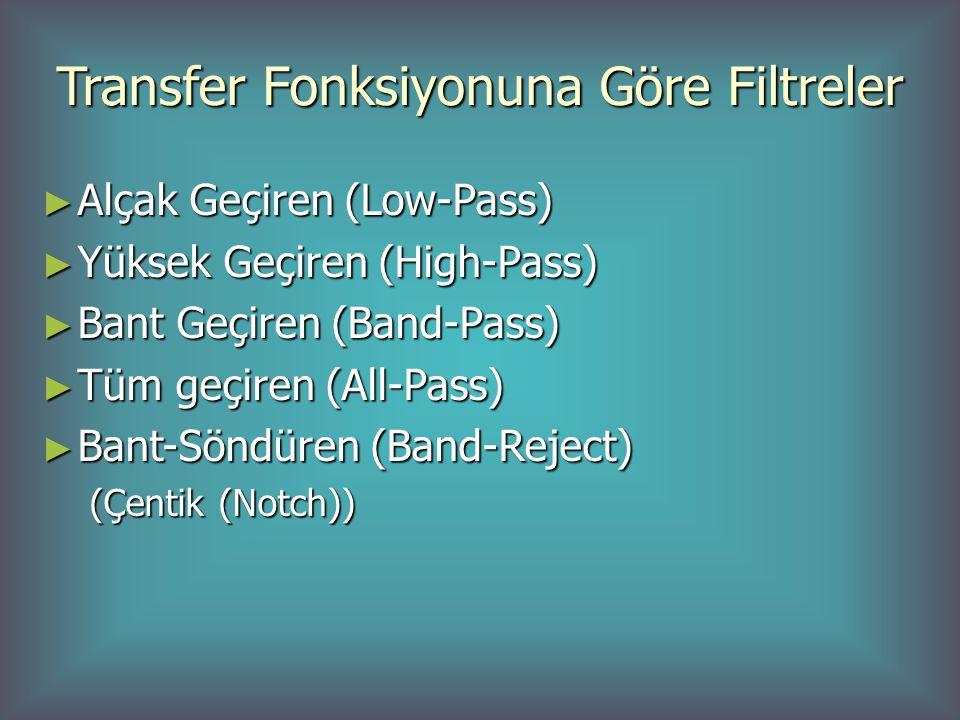 Transfer Fonksiyonuna Göre Filtreler ► Alçak Geçiren (Low-Pass) ► Yüksek Geçiren (High-Pass) ► Bant Geçiren (Band-Pass) ► Tüm geçiren (All-Pass) ► Bant-Söndüren (Band-Reject) (Çentik (Notch))