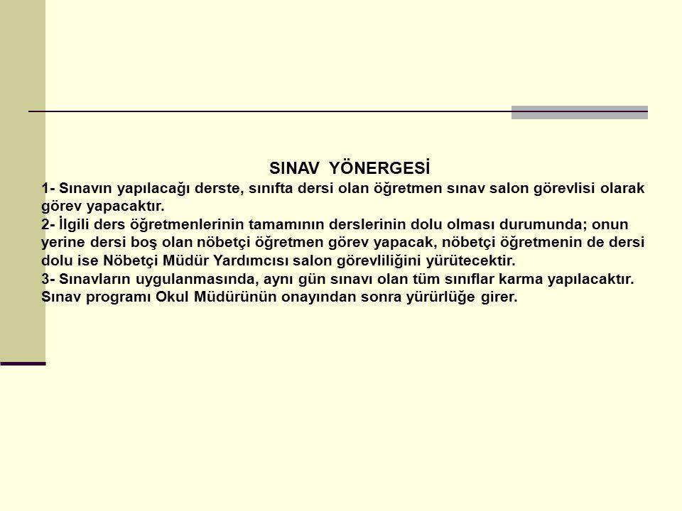 SINAV YÖNERGESİ 1- Sınavın yapılacağı derste, sınıfta dersi olan öğretmen sınav salon görevlisi olarak görev yapacaktır.