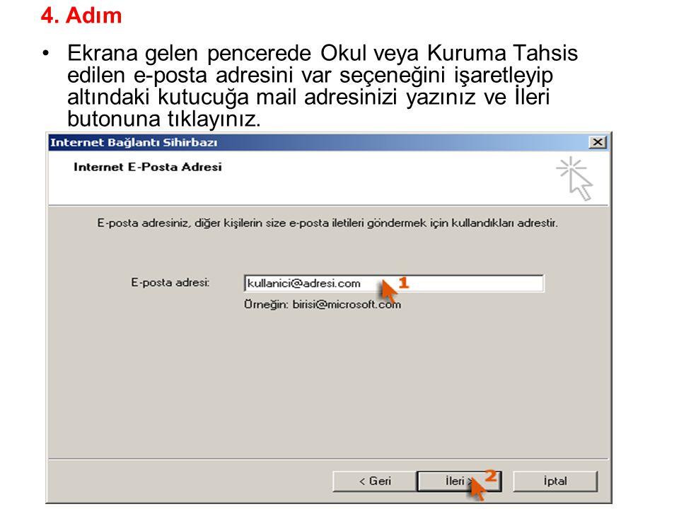 4. Adım Ekrana gelen pencerede Okul veya Kuruma Tahsis edilen e-posta adresini var seçeneğini işaretleyip altındaki kutucuğa mail adresinizi yazınız v