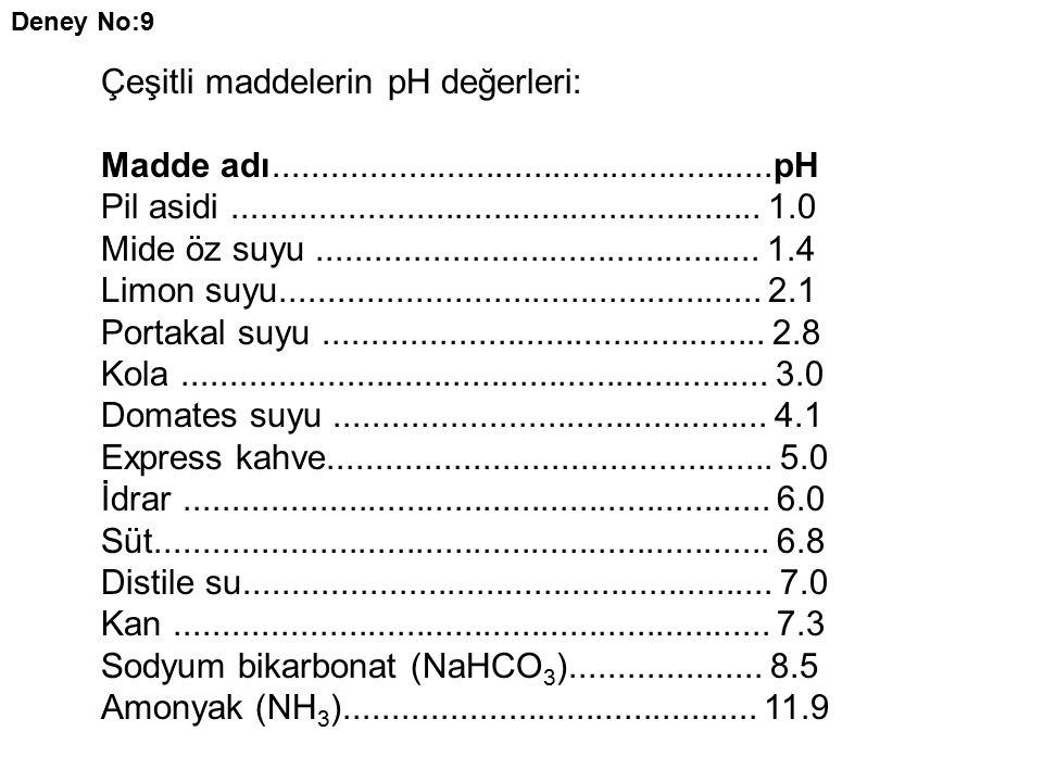 Deney No:9 Çeşitli maddelerin pH değerleri: Madde adı....................................................pH Pil asidi.......................................................