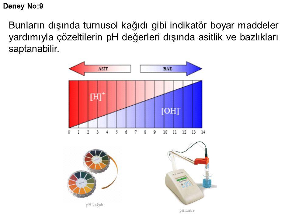 Deney No:9 Bunların dışında turnusol kağıdı gibi indikatör boyar maddeler yardımıyla çözeltilerin pH değerleri dışında asitlik ve bazlıkları saptanabilir.