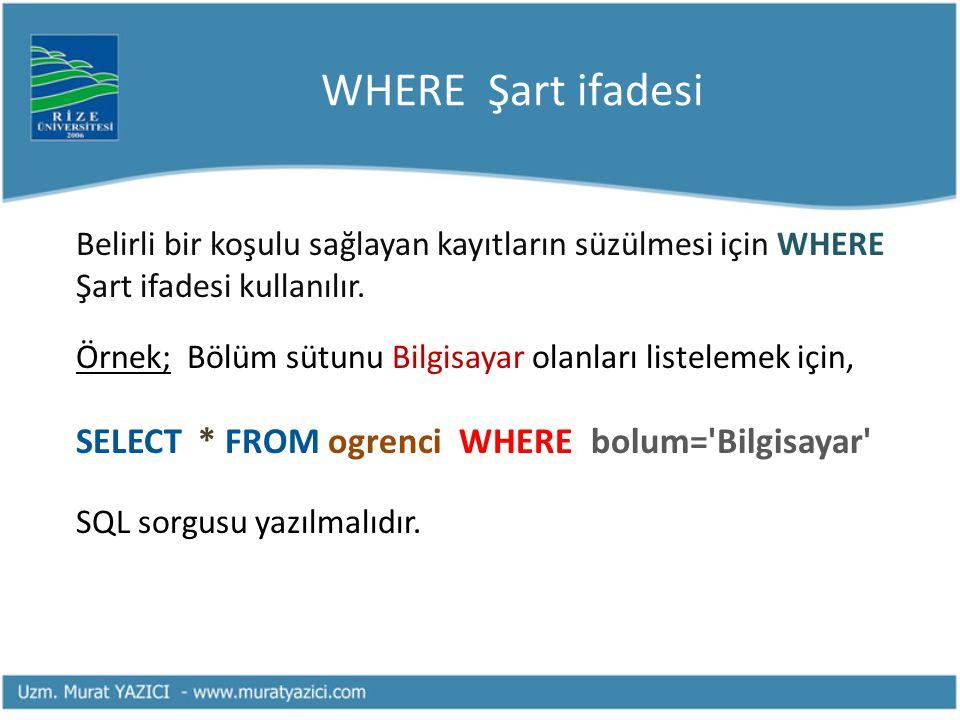 WHERE Şart ifadesi Belirli bir koşulu sağlayan kayıtların süzülmesi için WHERE Şart ifadesi kullanılır. Örnek; Bölüm sütunu Bilgisayar olanları listel