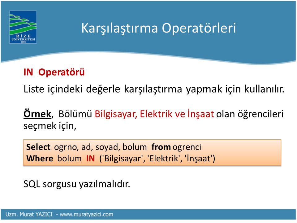 Karşılaştırma Operatörleri IN Operatörü Liste içindeki değerle karşılaştırma yapmak için kullanılır. Örnek, Bölümü Bilgisayar, Elektrik ve İnşaat olan