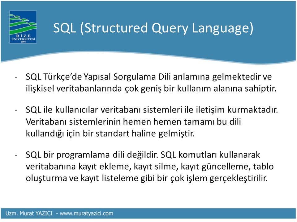 SQL (Structured Query Language) -SQL Türkçe'de Yapısal Sorgulama Dili anlamına gelmektedir ve ilişkisel veritabanlarında çok geniş bir kullanım alanın