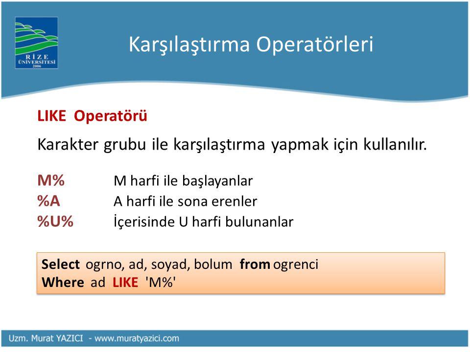 Karşılaştırma Operatörleri LIKE Operatörü Karakter grubu ile karşılaştırma yapmak için kullanılır. M% M harfi ile başlayanlar %A A harfi ile sona eren