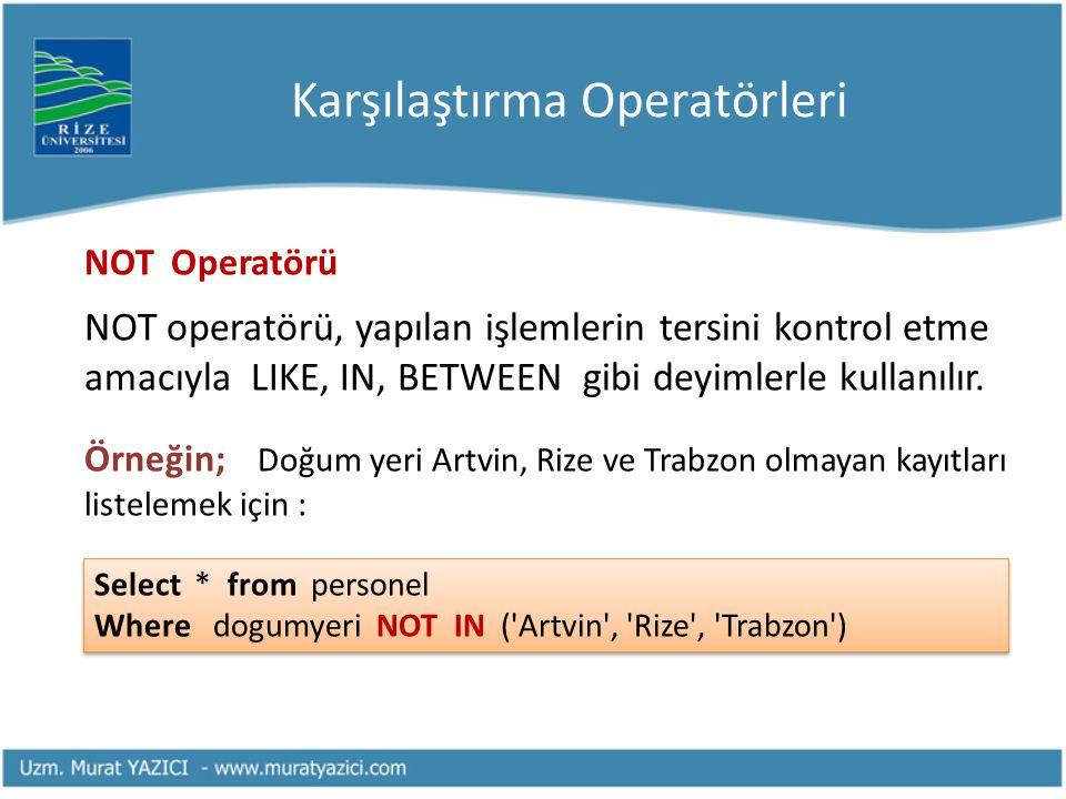 Karşılaştırma Operatörleri NOT Operatörü NOT operatörü, yapılan işlemlerin tersini kontrol etme amacıyla LIKE, IN, BETWEEN gibi deyimlerle kullanılır.