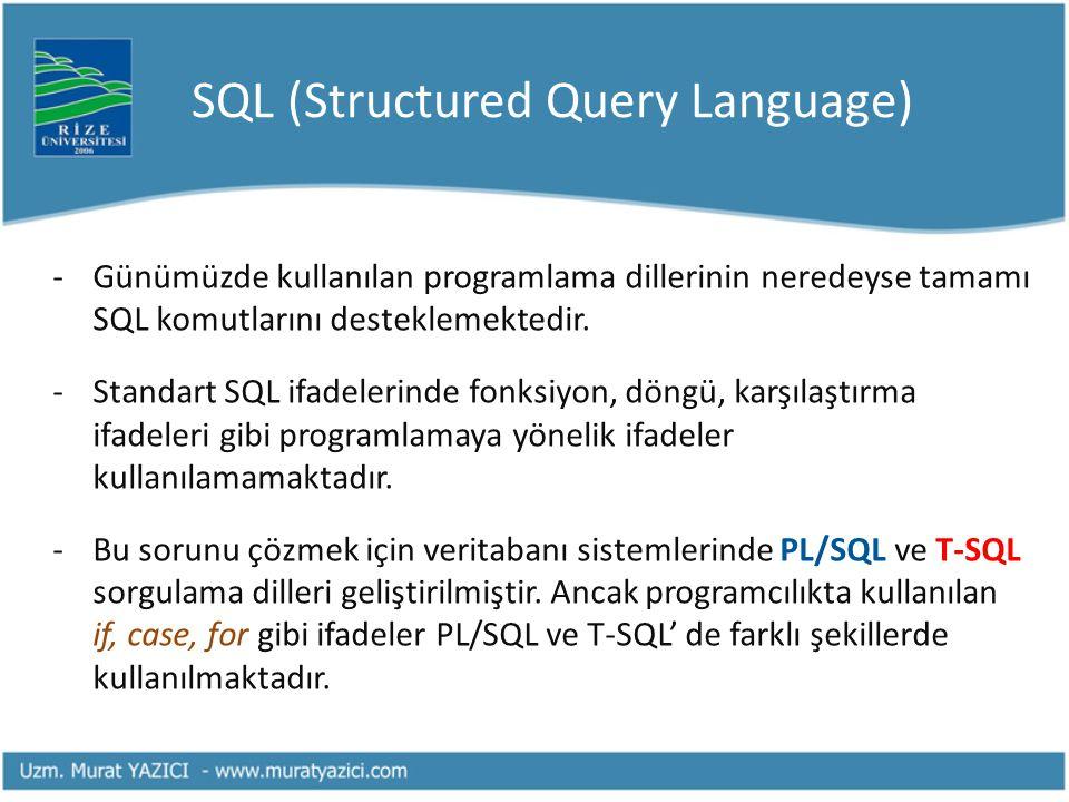 SQL (Structured Query Language) -Günümüzde kullanılan programlama dillerinin neredeyse tamamı SQL komutlarını desteklemektedir. -Standart SQL ifadeler