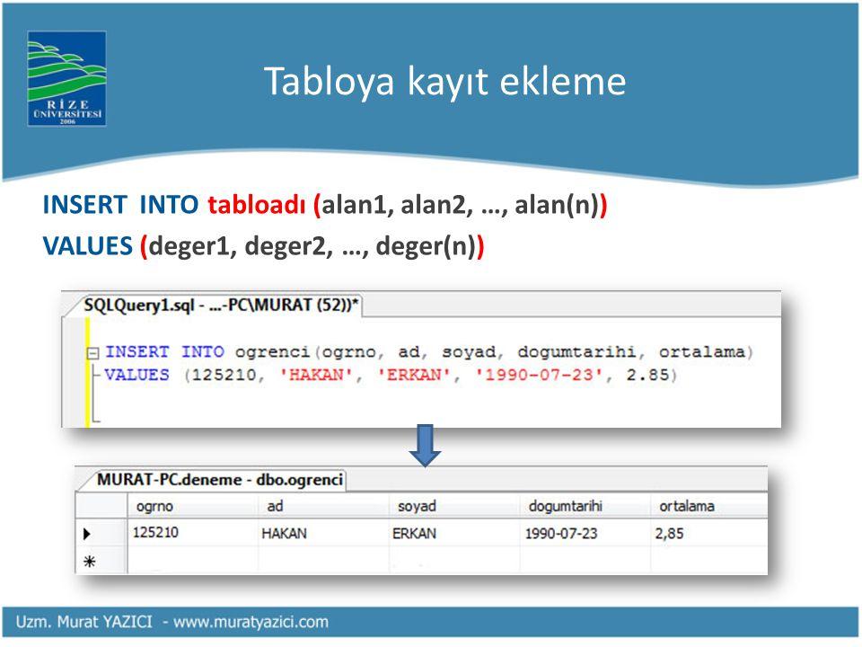 Tabloya kayıt ekleme INSERT INTO tabloadı (alan1, alan2, …, alan(n)) VALUES (deger1, deger2, …, deger(n))