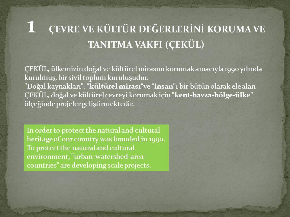 1 ÇEVRE VE KÜLTÜR DEĞERLERİNİ KORUMA VE TANITMA VAKFI (ÇEKÜL) ÇEKÜL, ülkemizin doğal ve kültürel mirasını korumak amacıyla 1990 yılında kurulmuş, bir