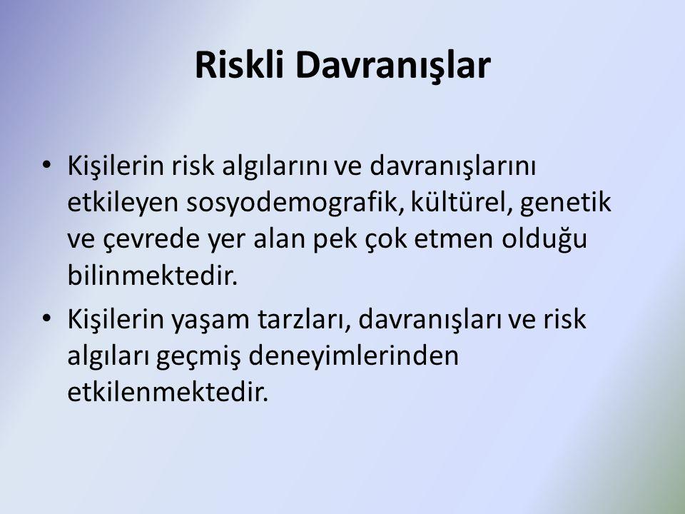 Riskli Davranışlar Kişilerin risk algılarını ve davranışlarını etkileyen sosyodemografik, kültürel, genetik ve çevrede yer alan pek çok etmen olduğu b