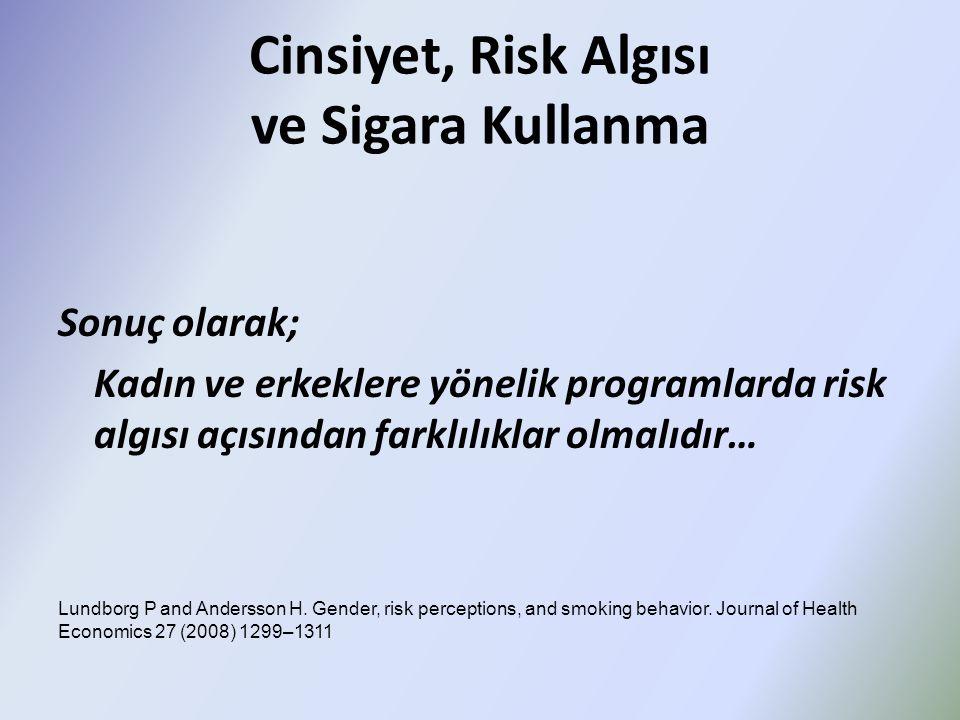 Cinsiyet, Risk Algısı ve Sigara Kullanma Sonuç olarak; Kadın ve erkeklere yönelik programlarda risk algısı açısından farklılıklar olmalıdır… Lundborg P and Andersson H.