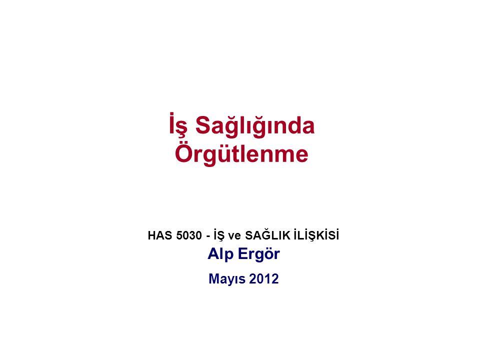 İş Sağlığında Örgütlenme HAS 5030 - İŞ ve SAĞLIK İLİŞKİSİ Alp Ergör Mayıs 2012