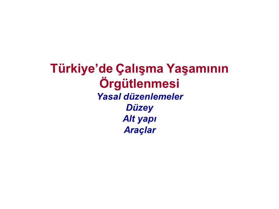 Türkiye'de Çalışma Yaşamının Örgütlenmesi Yasal düzenlemeler Düzey Alt yapı Araçlar