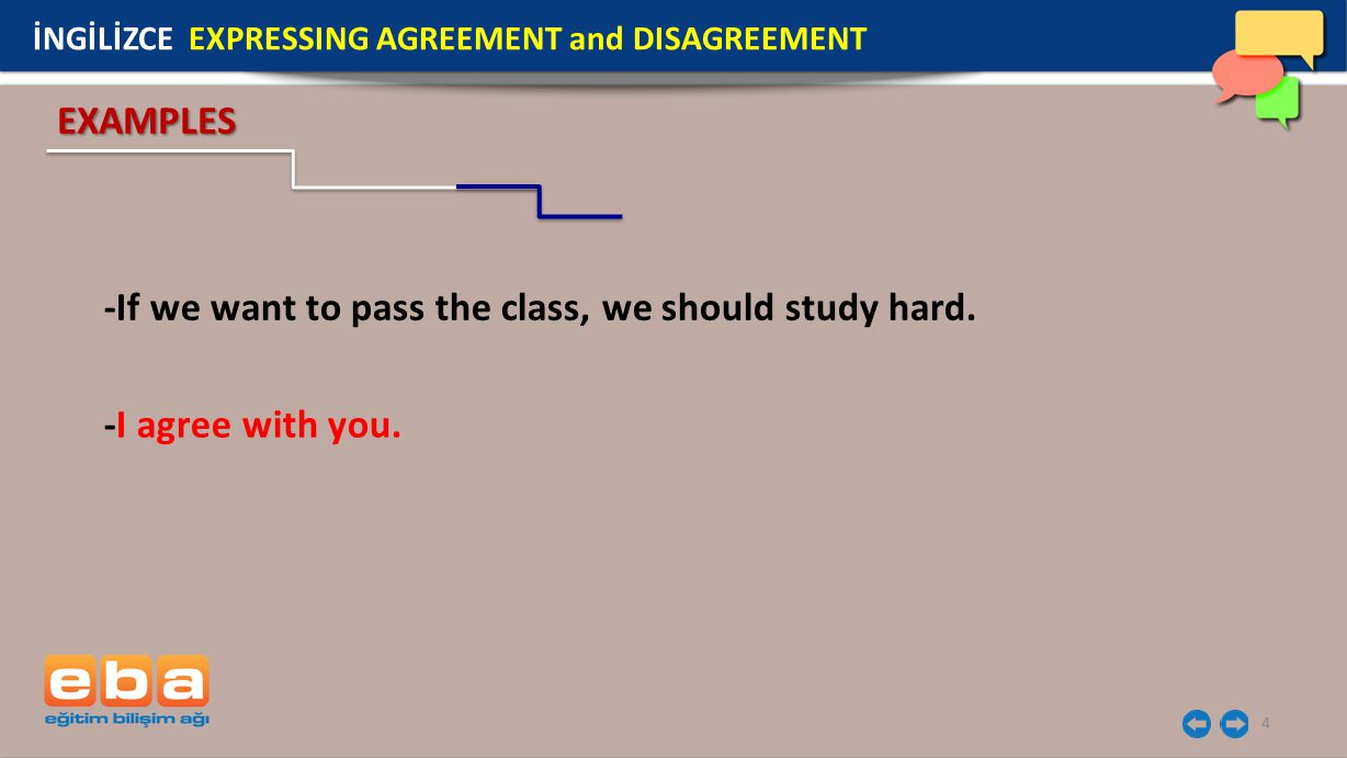 4 -If we want to pass the class, we should study hard. -I agree with you. EXAMPLES İNGİLİZCE EXPRESSING AGREEMENT and DISAGREEMENT