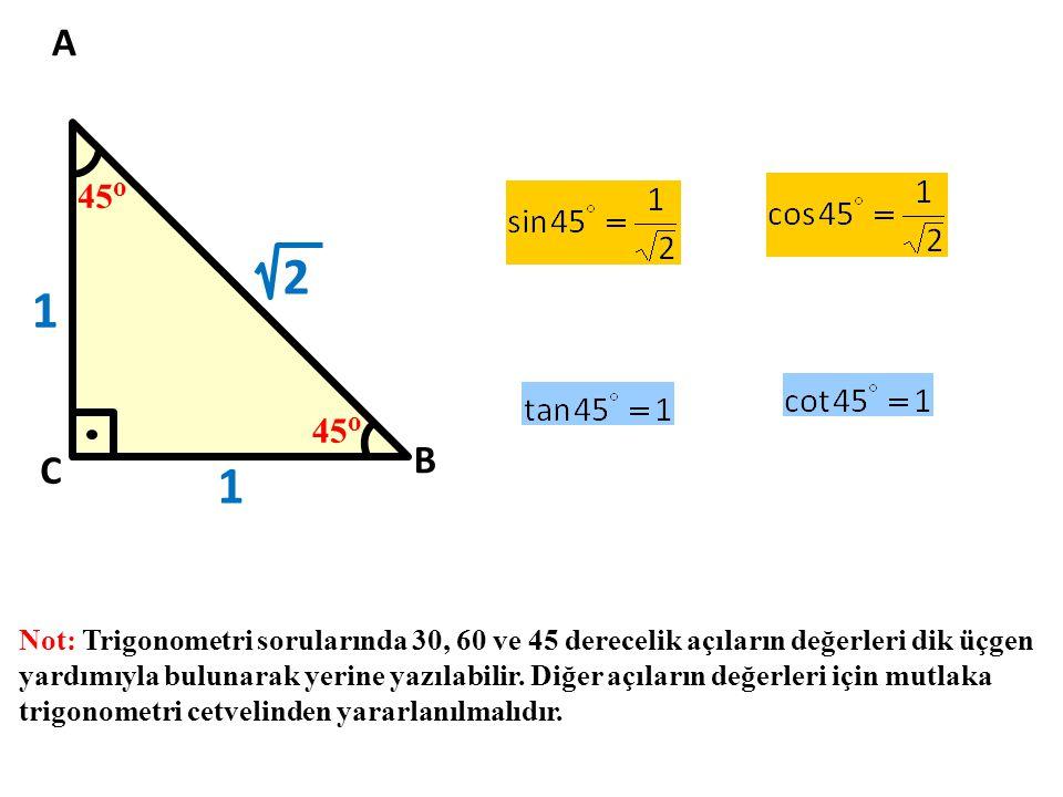 45 o A B C 1 2 1 Not: Trigonometri sorularında 30, 60 ve 45 derecelik açıların değerleri dik üçgen yardımıyla bulunarak yerine yazılabilir. Diğer açıl
