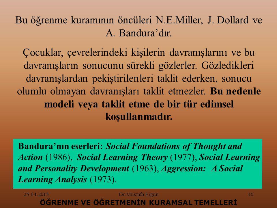 25.04.2015Dr.Mustafa Ergün10 ÖĞRENME VE ÖĞRETMENİN KURAMSAL TEMELLERİ Bu öğrenme kuramının öncüleri N.E.Miller, J.