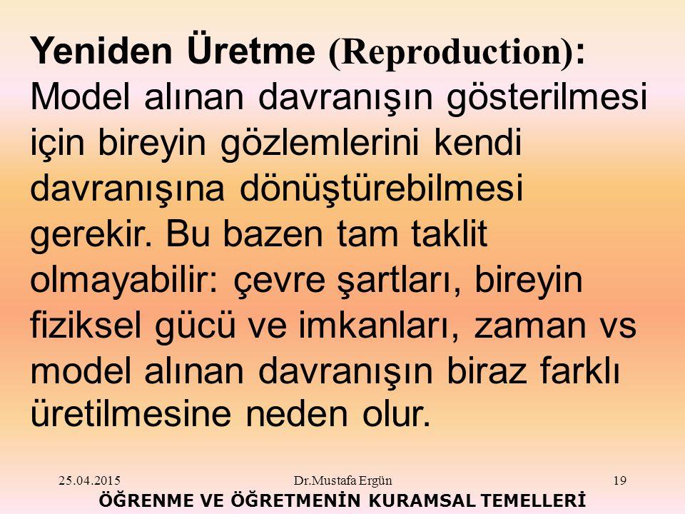 25.04.2015Dr.Mustafa Ergün19 ÖĞRENME VE ÖĞRETMENİN KURAMSAL TEMELLERİ Yeniden Üretme (Reproduction) : Model alınan davranışın gösterilmesi için bireyin gözlemlerini kendi davranışına dönüştürebilmesi gerekir.