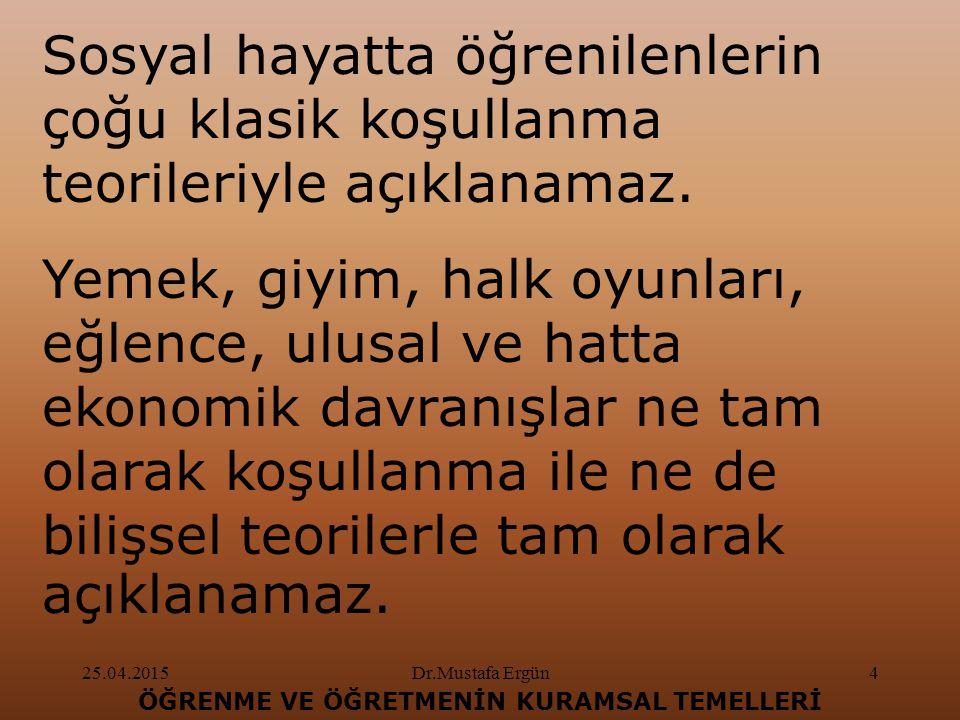 25.04.2015Dr.Mustafa Ergün5 ÖĞRENME VE ÖĞRETMENİN KURAMSAL TEMELLERİ Bebekler konuşmayı, çevresinde bulunan kişileri taklit ederek öğrenir.